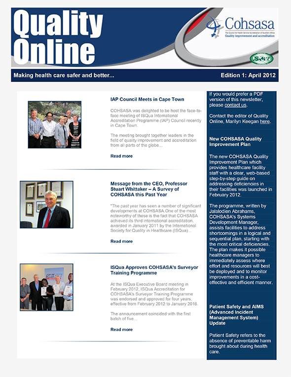 COHSASA Quality Online Newsletter, April 2012