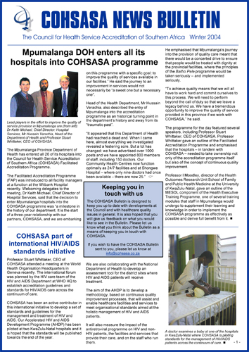 COHSASA News Bulletin, Winter 2004