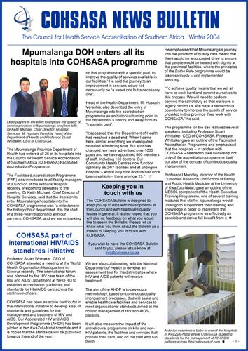 COHSASA News Bulletin, Winter 2004
