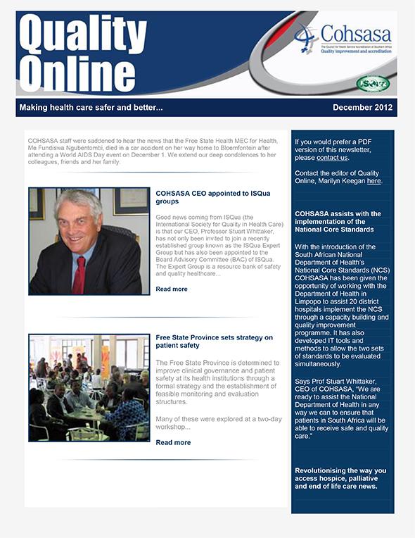 COHSASA Quality Online Newsletter, December 2012
